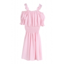 Sweet Princess Style Cold Shoulder Slip Style Puff Sleeve Ruffle Trim Dress