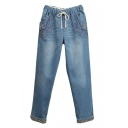 Light Blue Feather Embroidered Elastic Waist Jeans