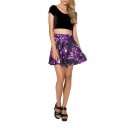 Purple Abstract Print High Waist Pleated Mini Skirt