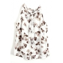 Floral Bow Knot Chiffon Sleeveless Top with Back Split