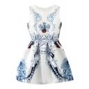 Round Neck Blue Vintage Flower Jacquard A-line Tanks Dress