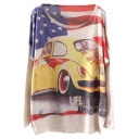 National Flag&Car Print Beige Loose Sweater