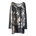 Long Sleeve Round Neck Tiger Print Beaded Smock Blouse