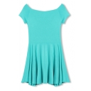 Plain Boat Neck Short Sleeve Pleated Mini Dress