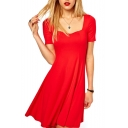 Plain Square Neck Short Sleeve Fitted Skater Dress