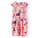 Pink Floral Print Sleeveless Fitted Dress