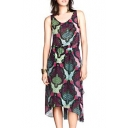 Fashion Graffiti Print Cutout Elastic Waist Tea Length Chiffon Tanks Dress