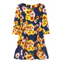 Dark Blue Background Chrysanthemum Print 3/4 Sleeve Vintage Style Dress