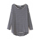 Stripe Print High Low Hem Round Neck Long Sleeve T-Shirt