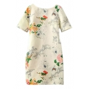 Oriental Floral Print Short Sleeve V-Back Dress