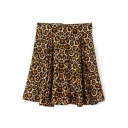 Leopard Print Zipper Back Ruffle Hem Skirt