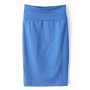 Blue Plain High Waist Pencil Skirt