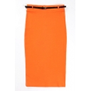 Orange Belted High Waist Maxi Skirt