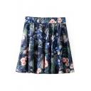 Floral Print Ruffle Hem Elastic Waist Skirt