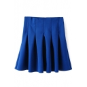 Blue Plain Pleated A-Line Mini Skirt