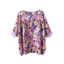 Purple Short Sleeve Floral Print Blouse
