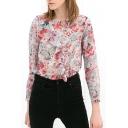 Long Sleeve Ruffle Embellish Front Flora Chiffon Blouse