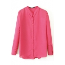 Red Long Sleeve Stand Collar Concise Shirt