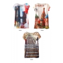 Beautiful Scene Print Short Sleeve Tunic Tee