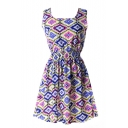 Sleeveless Symmetric Colorful Geometry Pattern Dress