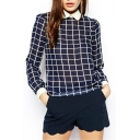Navy Long Sleeve Lapel Plaid Print Chiffon Blouse