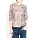 Floral Print Round Neck 3/4 Sleeve Crop Top