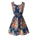 Dark Blue Sleeveless Gorgeous Flower Print Dress