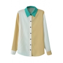 Color Block Green Lapel Long Sleeve Shirt
