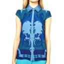 Totem Print Short Sleeve Point Collar Shirt