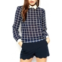 Vintage Plaid Peter Pan Collar Blouse