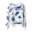 Ink Wash Floral Print Loose Round Neck Sweatshirt
