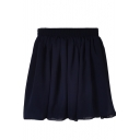 Navy Plain Elastic Waist Chiffon Skirt