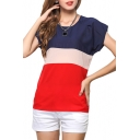 Red Short Sleeve Color Block Chiffon T-Shirt