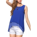 Blue Sleeveless Asymmetric Hem Chiffon Blouse
