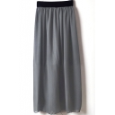 Gray Elastic Waist Chiffon Maxi Skirt
