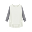 White&Gray Block Chiffon Double Layer Blouse