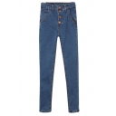 Dark Blue High Waist Single-Breast Skinny Pencil Jeans