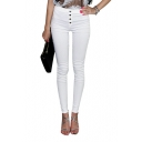 High Waist Single Breast Elastic Fitted Pencil Plain Jeans