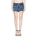 Print High Waist Hot Denim Shorts with Frayed Cuffs