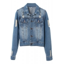 Vintage Distressed Point Collar Single-Breasted Denim Jacket