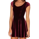 Burgundy Velvet Round Neck Short Sleeve A-line Dress