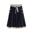 Lace Detail Belted Buttons Lace Crochet Hem Midi Skirt