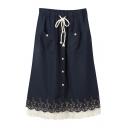 Floral Pattern Lace Hem Elastic Waist Single Breast Pockets Skirt