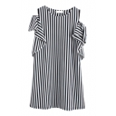 Vertical Stripe Ruffle Cold Shoulder Cotton Column Dress
