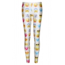 Fashionable White Emoji Print Fitted Skinny Leggings