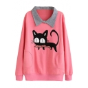 Lapel Cat Eating Fish Embroidered Sweatshirt