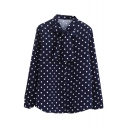 Big Bow Tie Neck Polka Dot Pattern Chiffon Shirt