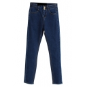 Denim Dark Wash Two Buttons High Waist Pencil Jeans