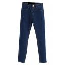 Denim Dark Wash Two Buttons High Waist Pencil Jeans