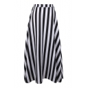 Striped Print Elastic Waist A-Line Maxi Skirt